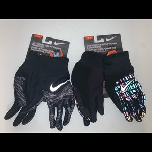 🔐 LOT OF 2 PAIRS WOMENS NIKE THERMAL RUN GLOVES
